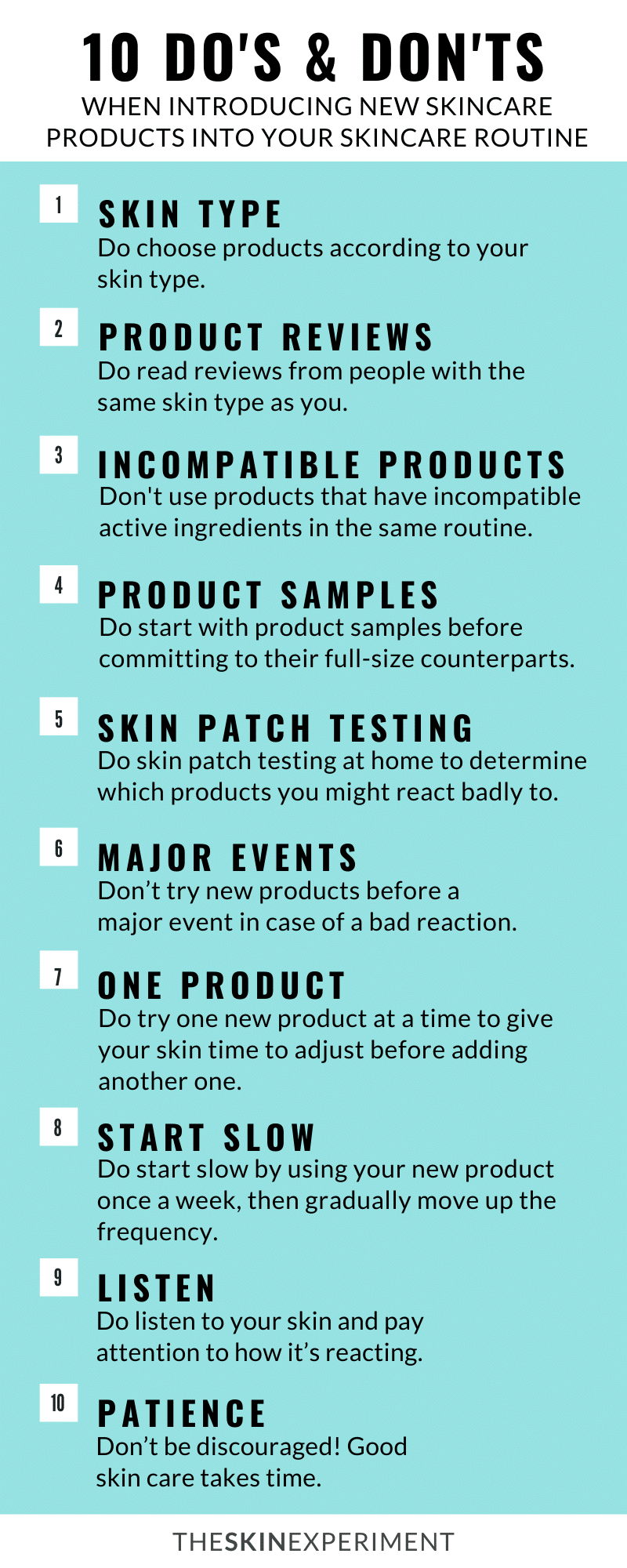 Infographic on Do's and Dont's of Adding New Products to Skincare Routine