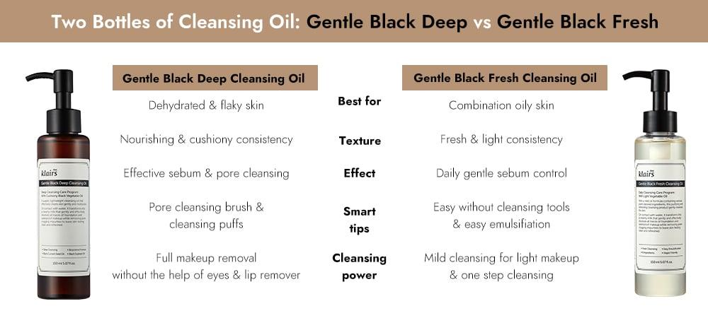 klairs gentle black deep cleansing oil vs fresh cleansing oil